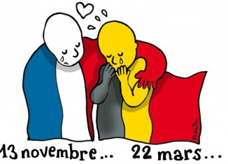 Homenaje de Plantu tras los atentados de Bruselas, publicado en su blog del diario francés Le Monde