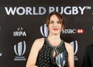 Alhambra Nievas en la entrega de los World Rugby Awards Foto: cedida por la entrevistada