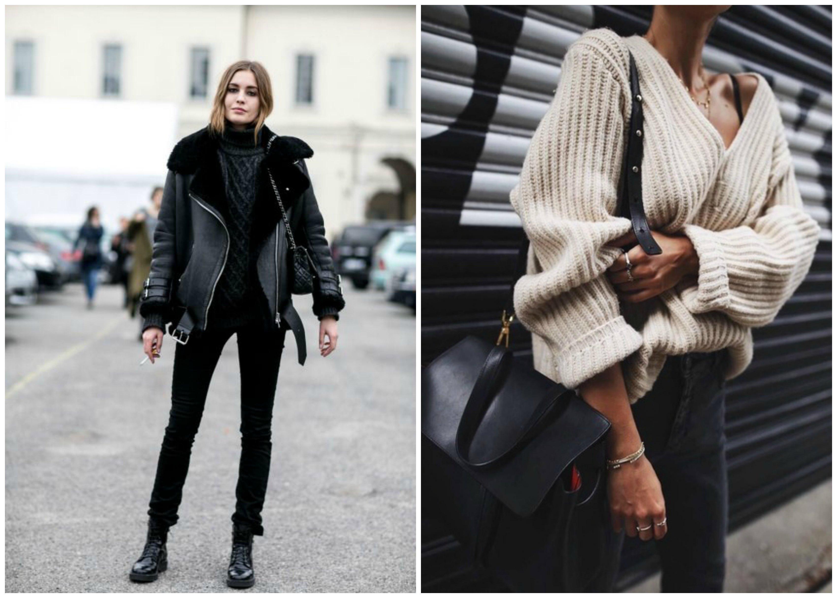 Dos modelos llevan las tendencias de sherling jackets y jerseys de punto