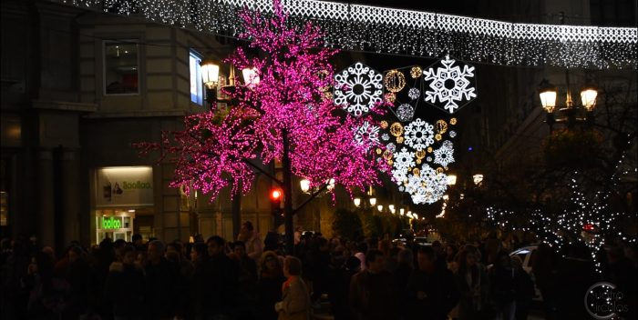 Árbol con luces navideñas en Plaza Bib-Rambla